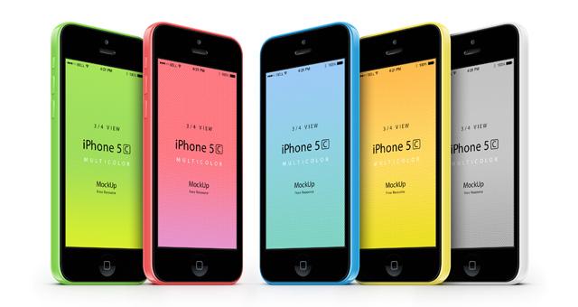 7-iphone-5C-mobile-celular-multicolors-three-quarters-view-3d-mock-up-psd