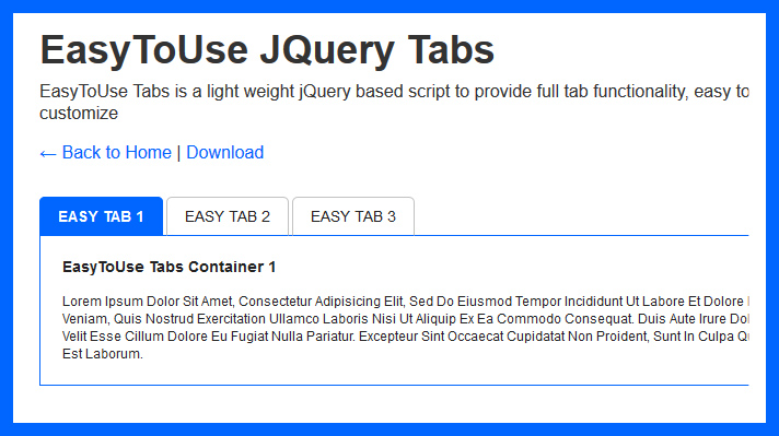 Easy to use tabs