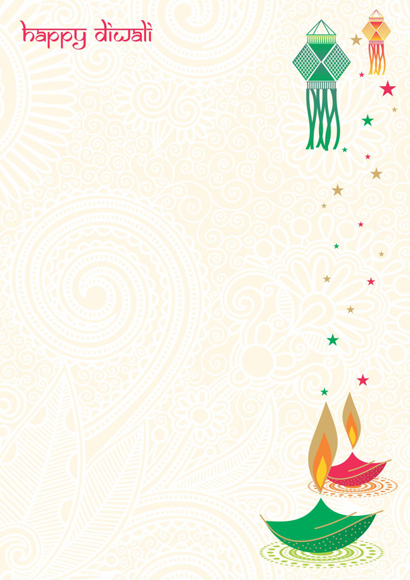 My favorite, design with Diwali Lamp, Diya and sparkling stars on traditional background