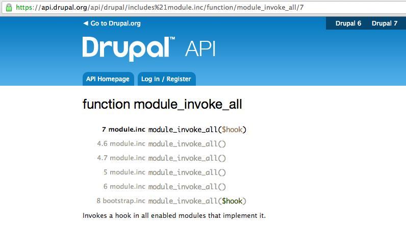 Drupal core API page